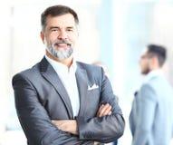 Sorriso superior feliz do homem de negócio Foto de Stock Royalty Free