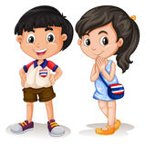 Sorriso tailandês do menino e da menina Fotos de Stock