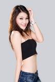 Sorriso timido della ragazza asiatica Immagine Stock Libera da Diritti