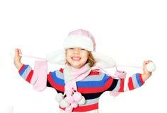 Sorriso Toothy del gilr di inverno fotografie stock