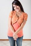 Sorriso vergognoso Fotografia Stock
