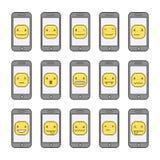 Sorrisos engraçados da coleção do pixel e telefones espertos Imagem de Stock