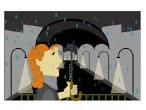 Sorrow City. Woman walking unhappy at night in rainy city holding umbrella vector illustration