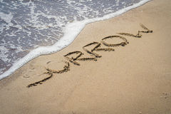 Sorrow inscription on the sand Royalty Free Stock Images