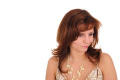 Sorrow woman. Isolated on white Royalty Free Stock Photos