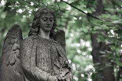 The Sorrowful Angel.The face of a grieving angel woman, space fo. The Sorrowful Angel. The tomb of the 19th century, the German introduced city of Moscow stock photography