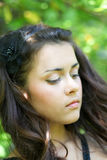 Sorrowful beauty dreaming outdoor. Sorrowful beauty dreaming in nature Royalty Free Stock Photo