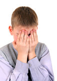Sorrowful Boy. Sorrowful Young Boy Isolated on the White Background Stock Photography