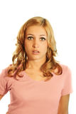Sorrowful business woman. A young, attractive and unhappy business woman is looking sad Royalty Free Stock Photography