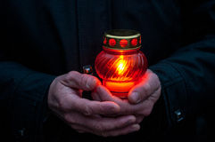 Sorrowful-candle in the memory of famine genocide Starvation Holodomor. Ukrainians light candle during a memorial ceremony in memory of victims of the Great Stock Image