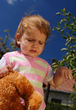 Sorrowful child. Tired and sorrowful child with her teddy bear Royalty Free Stock Photos