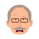 Sorrowful Face Emotion on Elderly Man Head Vector Stock Image
