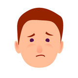 Sorrowful Face Emotion on Man-child Close-up Icon. Sorrowful face emotion on man-child close-up portrait on white background. Dumpish and lamentable boy face Royalty Free Stock Images