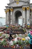Sorrowful Maidan filled with flowers and candles Royalty Free Stock Photography