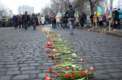 Sorrowful Maidan. Kyiv, Ukraine - March 01 2014: People go along the row of flowers in the street Institutska. Ukrainian capital is sorrowing over victims of the Royalty Free Stock Images