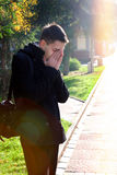 Sorrowful Man outdoor Royalty Free Stock Photography