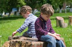 Sorrowful twins Stock Image