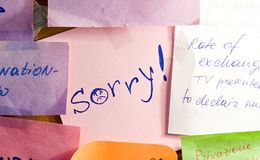 Sorry!. Note paper with inscription Sorry Royalty Free Stock Images