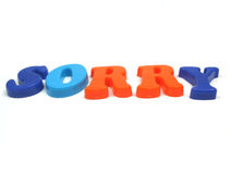Sorry. The word sorry spelled out Royalty Free Stock Images