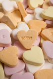 Sorry. Candy in a hart shape that says sorry Stock Photo