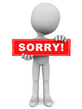 Sorry. Apology concept sorry word on red banner held up by an apologetic little man against white background Stock Photos