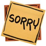Sorry - apology on sticky note Royalty Free Stock Photo
