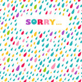 'Sorry' card. Drops background. Stock Photos