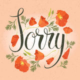 Sorry card with red flowers Stock Image