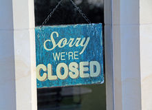 Sorry closed shop sign. Photo of sorry we`re closed shop sign ideal for out of hours,business,finance etc Royalty Free Stock Images