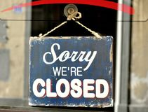 Sorry we are closed sign. In a shop in Florence, Italy. vintage sign in an italian store Stock Photography