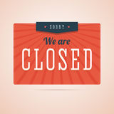 Sorry, we are closed sign in flat style with stars and rays. Stock Images