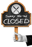 Sorry we are Closed -  Sign with Hand of Waiter Royalty Free Stock Photo