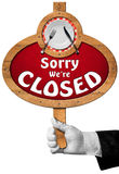 Sorry we are Closed -  Sign with Hand of Waiter Royalty Free Stock Image