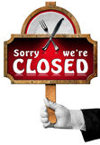 Sorry we are Closed -  Sign with Hand of Waiter Royalty Free Stock Photos