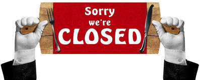 Sorry we are Closed -  Sign with Hands of Waiter Royalty Free Stock Image