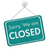 Sorry We are Closed Sign. A teal hanging sign with text Sorry We are Closed isolated over white Royalty Free Stock Photo