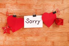 Sorry. Concept shot of sorry on wooden background stock images