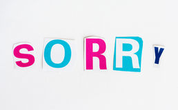 Sorry cut from newspaper letters isolated Stock Photo