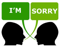Sorry. Ending an argument or fight and apologizing Stock Photo