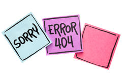 Sorry, error 404 -  page not found. Sorry, error 404 - web page not found sign  - handwriting in black ink on isolated sticky notes with a copy space Stock Image