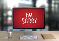 SORRY Forgive Regret Oops Fail False Fault Mistake Regret Apolo. Gize Excuse Fault royalty free stock image