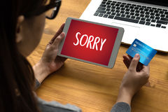 SORRY Forgive Regret Oops Fail False Fault Mistake Regret Apolo. Gize Excuse Fault stock image