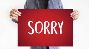 SORRY Forgive Regret Oops Fail False Fault Mistake Regret Apolo. Gize Excuse Fault royalty free stock photos