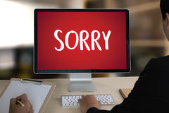 SORRY Forgive Regret Oops Fail False Fault Mistake Regret Apolo. Gize Excuse Fault royalty free stock photo