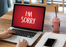 SORRY Forgive Regret Oops Fail False Fault Mistake Regret Apolo. Gize Excuse Fault royalty free stock images