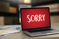 SORRY Forgive Regret Oops Fail False Fault Mistake Regret Apolo. Gize Excuse Fault stock photos