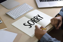 SORRY Forgive Regret Oops Fail False Fault Mistake Regret Apolo. Gize Excuse Fault stock photo