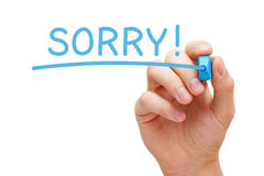 Sorry Handwritten With Blue Marker Stock Photos