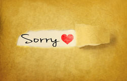 Sorry handwritten on vintage paper. Sorry handwritten under torn strip of vintage paper Royalty Free Stock Photos