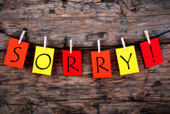 Sorry On A Line. The Word Thanks On Colorful Tags On A Line On Wood royalty free stock photo